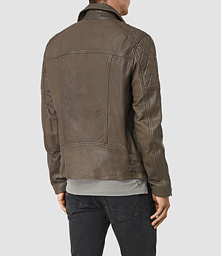 Mens Yuku Leather Biker Jacket (LIGHT SLATE GREY) - product_image_alt_text_6