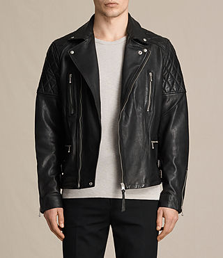Hommes Yuku Leather Biker Jacket (Black)
