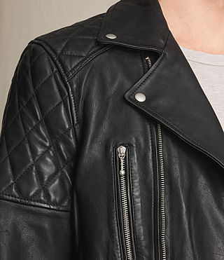 Mens Yuku Leather Biker Jacket (Black) - product_image_alt_text_2