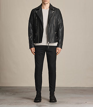 Mens Yuku Leather Biker Jacket (Black) - product_image_alt_text_3