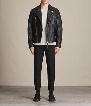 Herren Yuku Leather Biker Jacket (Black) - product_image_alt_text_3