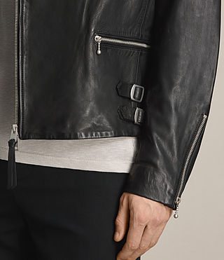 Mens Yuku Leather Biker Jacket (Black) - product_image_alt_text_4