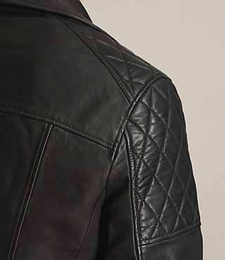 Mens Yuku Leather Biker Jacket (Black) - product_image_alt_text_5
