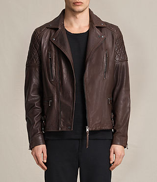 Hombres Yuku Leather Biker Jacket (Oxblood)