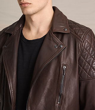 Uomo Yuku Leather Biker Jacket (Oxblood) - product_image_alt_text_2