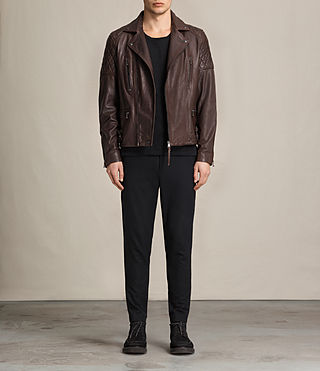 Uomo Yuku Leather Biker Jacket (Oxblood) - product_image_alt_text_3