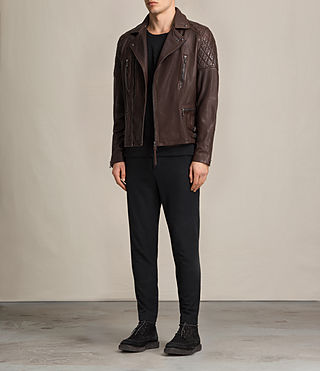 Uomo Yuku Leather Biker Jacket (Oxblood) - product_image_alt_text_4