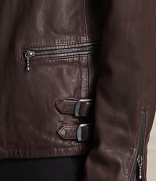 Uomo Yuku Leather Biker Jacket (Oxblood) - product_image_alt_text_5