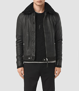 Mens Naoki Leather Jacket (Black)