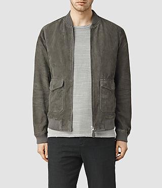 Mens Bloomington Leather Bomber Jacket (Slate Grey)