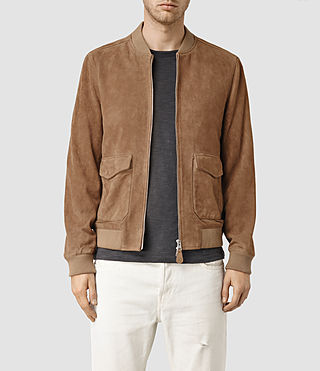 Mens Bloomington Leather Bomber Jacket (SAND BROWN)
