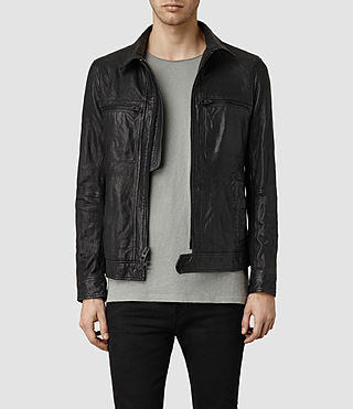 Mens Track Leather Jacket (Black)