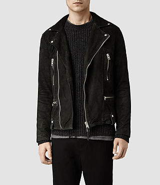 Men's Murphy Leather Biker Jacket (Washed Black)