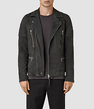 Mens Kenji Suede Biker Jacket (Steel)