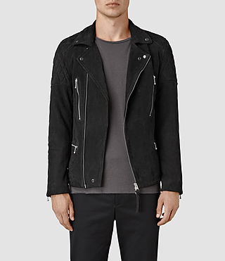 Hombres Kenji Suede Biker Jacket (Washed Black)