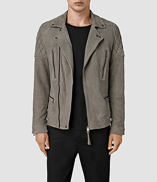 Hombres Kenji Suede Biker Jacket (Chrome Grey)