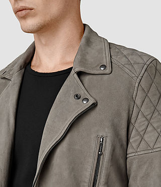 Hombres Kenji Suede Biker Jacket (Chrome Grey) - product_image_alt_text_2