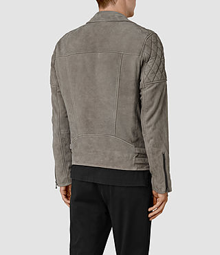 Hombres Kenji Suede Biker Jacket (Chrome Grey) - product_image_alt_text_4