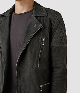 Hommes Kenji Suede Biker Jacket (STEEL BLUE) - product_image_alt_text_4