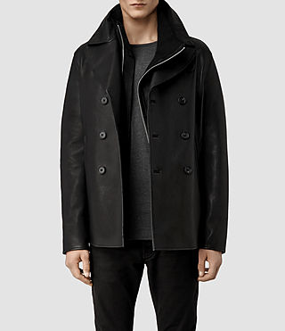 Men's Piper Leather Peacoat (Black)