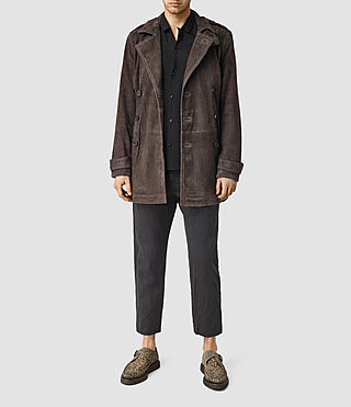 Mens Master Suede Trench Coat (Bitter Brown)