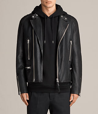 Mens Reimer Leather Biker Jacket (Black) - product_image_alt_text_1