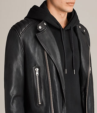Mens Reimer Leather Biker Jacket (Black) - product_image_alt_text_2
