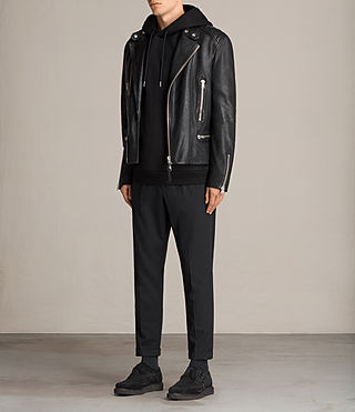 Mens Reimer Leather Biker Jacket (Black) - product_image_alt_text_3
