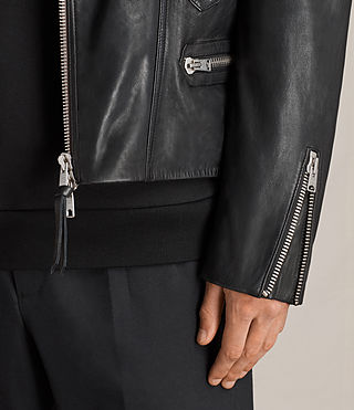 Mens Reimer Leather Biker Jacket (Black) - product_image_alt_text_4