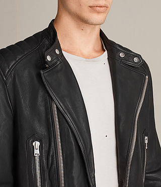 Mens Reimer Leather Biker Jacket (Black) - product_image_alt_text_6