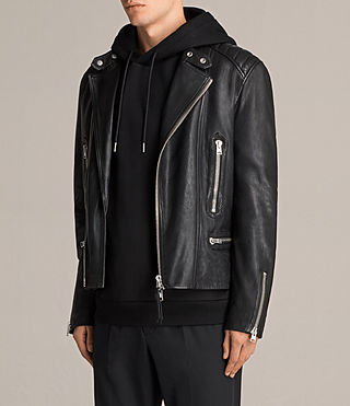 Mens Reimer Leather Biker Jacket (Black) - product_image_alt_text_7