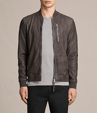 Hommes Kino Leather Bomber Jacket (Slate Grey) -