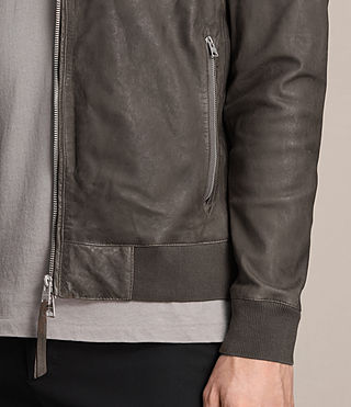 Mens Kino Leather Bomber Jacket (Slate Grey) - product_image_alt_text_2