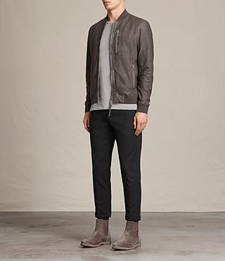 Mens Kino Leather Bomber Jacket (Slate Grey) - product_image_alt_text_3