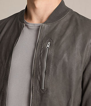 Mens Kino Leather Bomber Jacket (Slate Grey) - product_image_alt_text_4