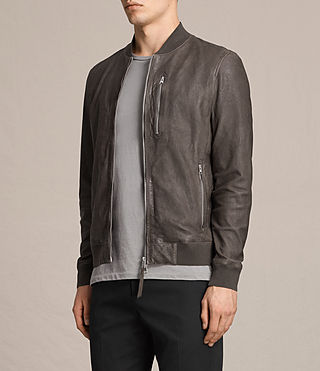 Mens Kino Leather Bomber Jacket (Slate Grey) - product_image_alt_text_5