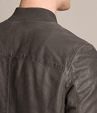 Mens Kino Leather Bomber Jacket (Slate Grey) - product_image_alt_text_6