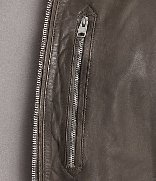 Mens Kino Leather Bomber Jacket (Slate Grey) - product_image_alt_text_7
