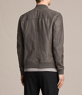 Mens Kino Leather Bomber Jacket (Slate Grey) - product_image_alt_text_8