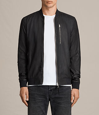 Hombre Kino Leather Bomber (INK NAVY)