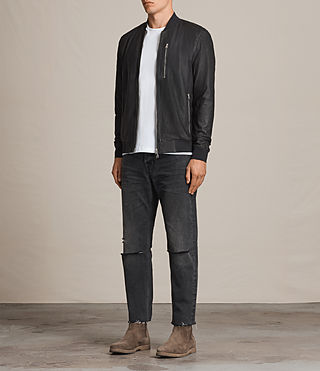 Hombres Kino Leather Bomber Jacket (INK NAVY) - product_image_alt_text_3