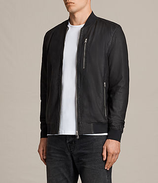 Mens Kino Leather Bomber Jacket (INK NAVY) - product_image_alt_text_5