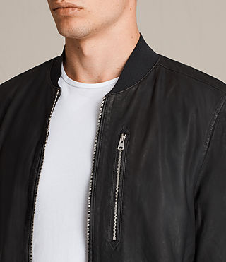 Mens Kino Leather Bomber Jacket (INK NAVY) - product_image_alt_text_6