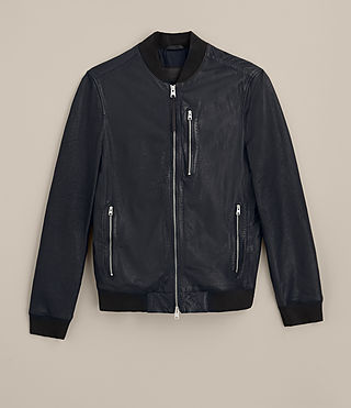 Mens Kino Leather Bomber Jacket (INK NAVY) - product_image_alt_text_9