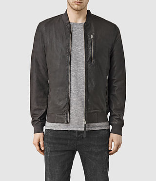 Hombres Kino Leather Bomber Jacket (ANTHRACITE GREY)