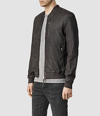 Men's Kino Leather Bomber Jacket (ANTHRACITE GREY) - product_image_alt_text_3