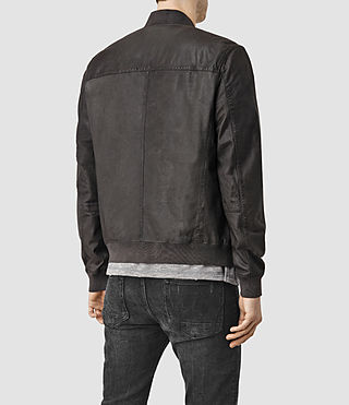 Men's Kino Leather Bomber Jacket (ANTHRACITE GREY) - product_image_alt_text_4