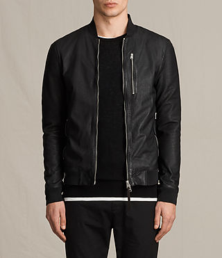 Mens Kino Leather Bomber Jacket (INKNAVY) - product_image_alt_text_1