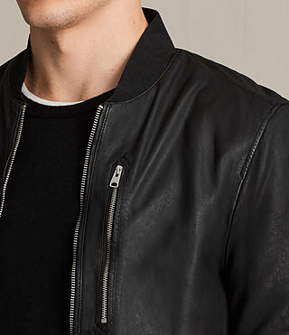 Mens Kino Leather Bomber Jacket (INKNAVY) - product_image_alt_text_2