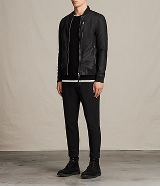 Mens Kino Leather Bomber Jacket (INKNAVY) - product_image_alt_text_3